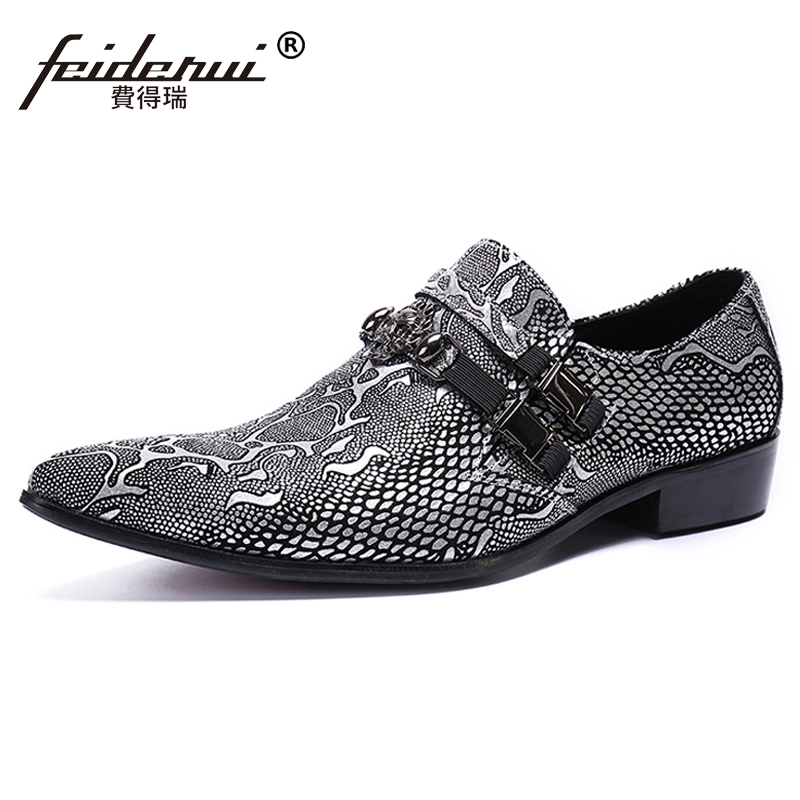 Plus Size Formal Pointed Toe Slip on Man Dance Loafers Genuine Leather Python-patterned Handmade Men's Club Casual Shoes SL487