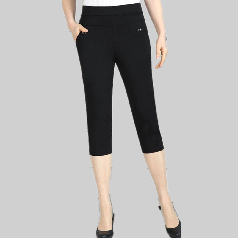 2019 Women Summer Thin   Pants     Capris   High Waist Pencil   Pants   Elastic Waist Plus Size Casual   Pants   Women LY151