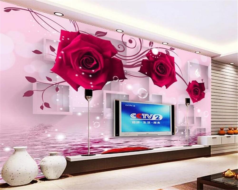 beibehang Custom 3D Wallpaper Red Rose Reflection 3D Living Room Tv Background Wall photo wallpaper mural papel de parede 3d