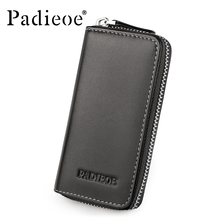 Padieoe 2018 Luxury Brand Key Chain Holder Wallet Unisex Fashion Solid Genuine Cowhide Leather Key Bags Housekeeper Wallet
