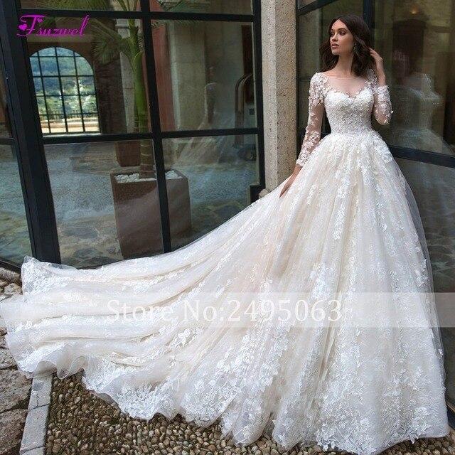 Chapel Train Lace A-Line Wedding Dress 3