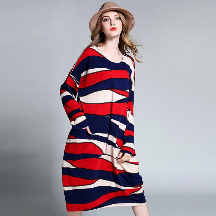 Red Color Striped Oversized Knitted Long Dress Autumn Batwing Sleeve Thick Loose Dress for Women 4XL Plus Size Women Dress plus size fashionable short sleeve laciness spliced striped loose shirt for women