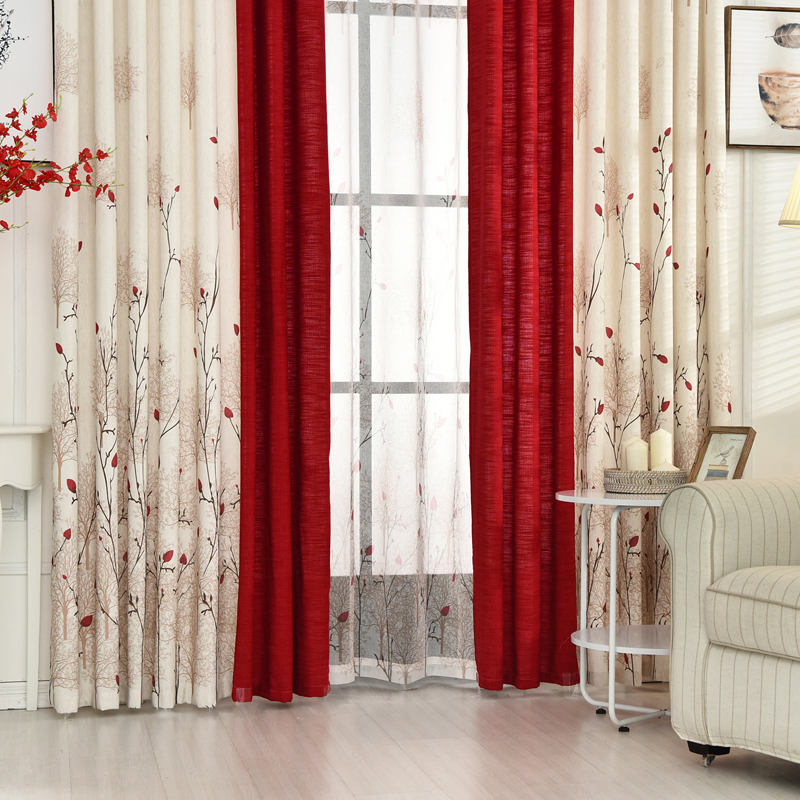 [byetee] Cotton Linen Livingroom Window Curtain Bedroom Finished Fabrics Kitchen Blackout Curtains For Living Room Red Drapes