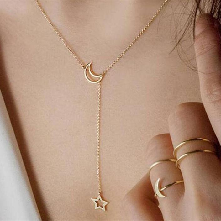 IF ME, винтажное многослойное ожерелье с кулоном из кристаллов, женские бусы золотого цвета, Лунная звезда, рога полумесяца, колье, ожерелье, ювелирное изделие, Новинка - Окраска металла: NJDY421