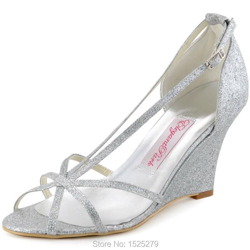 wp1421 silver women bride prom party wedge heels sandals buckles satin straps rhinestones wedding bridesmaids shoes