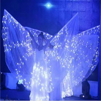 Fashion White Colorful Led Luminous Evening Party Dress Wings Light Up Stage Performance Costumes For Club Party Bar Halloween
