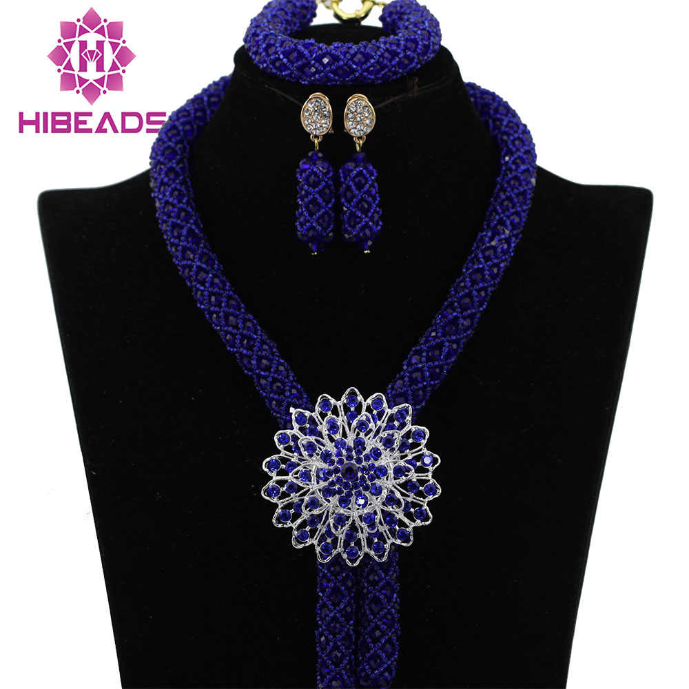 Royal Blue Crystal Nigerian Wedding Party Beads Statement Necklaces African Jewelry Sets Lace Jewellery Free Shipping ABK749