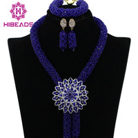 Royal Blue Crystal Nigerian Wedding Party Beads Statement Necklaces African Jewelry Sets Lace Jewellery Free Shipping