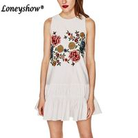Women White Boho Flower Bird Embroidery Dress Ethnic Style Sleeveless O Neck Ruffles Casual Dresses Vestidos