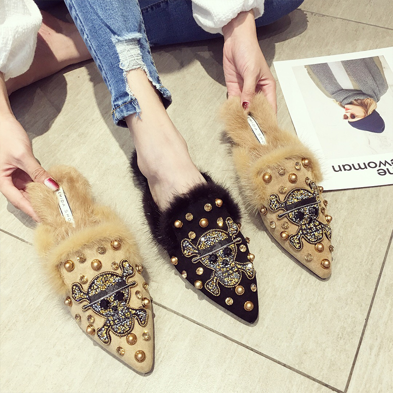 SWYIVY Half Slippers Womam Fur Rivet 2018 Spring Female Fashion Rhinestone Casaul Shoes Pointed Toe Lady Elegnt Mullers Shoes