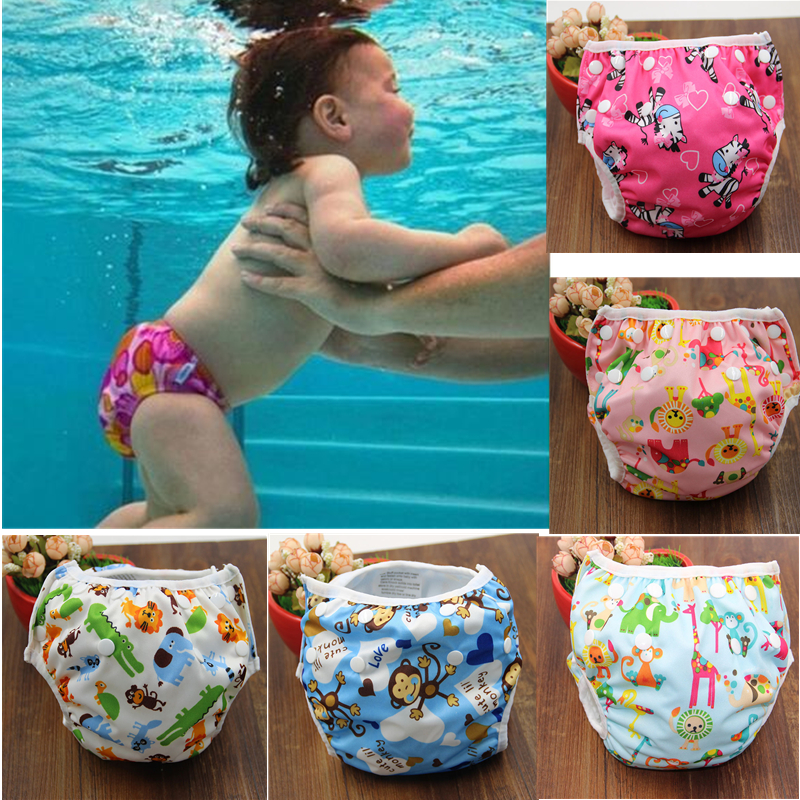 2019 New Baby Swim Diapers Waterproof Adjustable Cloth Diapers Pool Pant Swimming Diaper Cover Reusable Washable Baby Nappies