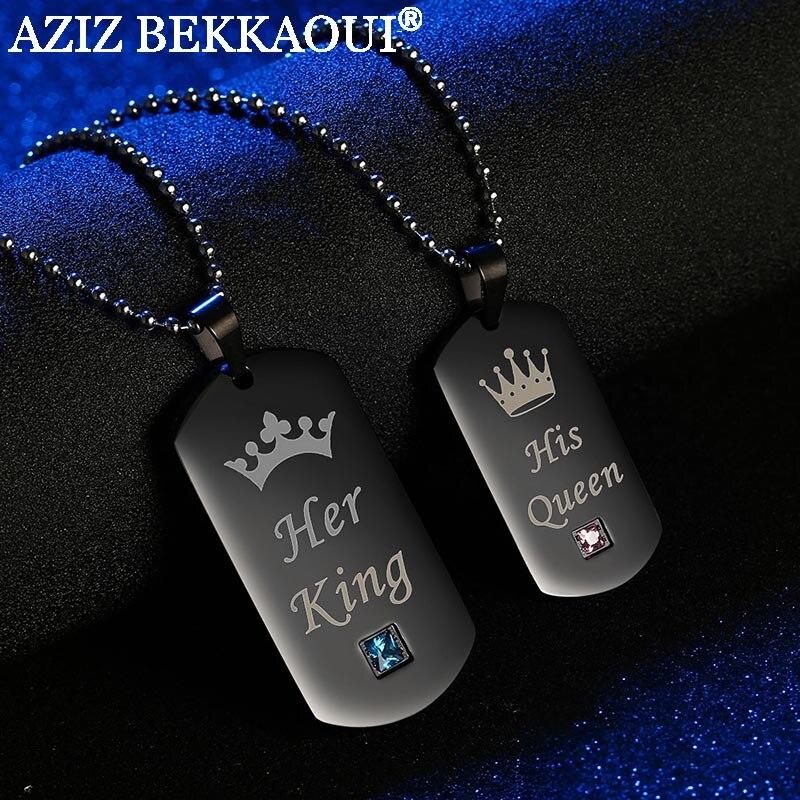 AZIZ BEKKAOUI su rey y su reina pareja collares con caja negro Acero inoxidable Tag COLLAR COLGANTE con piedra para regalo
