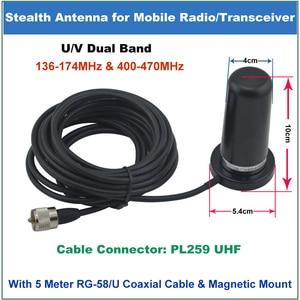Image 2 - QYT Anten 200 W PL259 PL 259 Bağlayıcı Çift Bant 136 174/400 470 MHz Stealth Mobil Anten QYT KT 8900 KT8900 Mobil Radyo