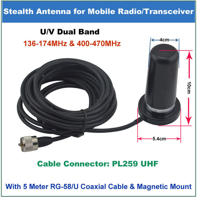 US $42 0 |QYT Antenna 200W PL259 PL 259 Connector Dual Band 136 174/400  470MHz Stealth Mobile Antenna For QYT KT 8900 KT8900 Mobile Radio-in Walkie