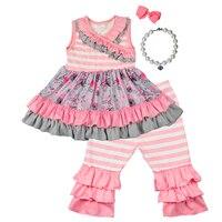 Newest Arrival Children Girls Hot Pink Ruffle Summer Casual Dress Top Cotton Boutique Outfit Ruffler Capris