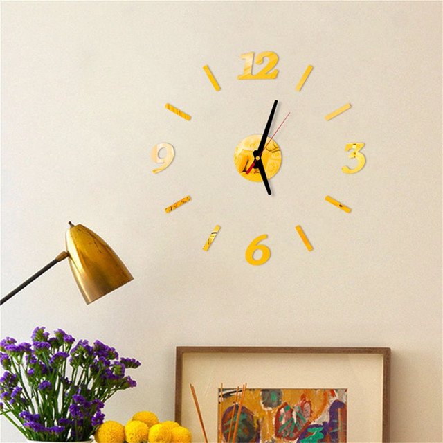 diy Mirror Wall Clock Sticker Acrylic 3D Roman Numbers Clock Wall Art Watch Decals Wall Clocks for Living Room Home Office 9M14 2