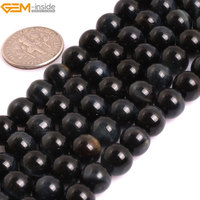 Gem-inside AAA Grade Genuine Natural Round Smooth Blue Tiger Eye Precious Stone Beads For Jewelry Making DIY