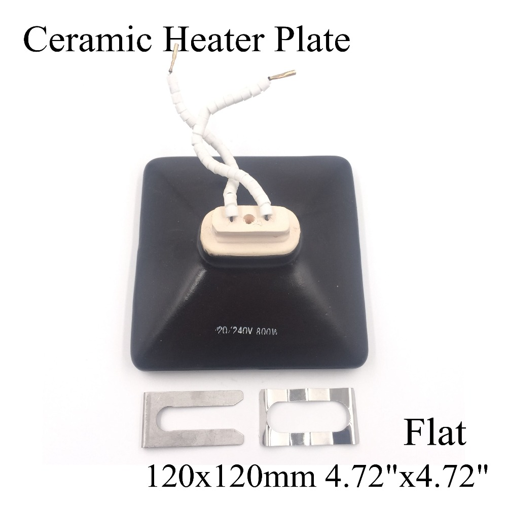 120*120mm Black/White 220V Flat IR Infrared Ceramic Heater Plate Air Heating Board Pad For BGA Station Mould With Metal Clip 110v 120v 100w poultry ceramic heating emitter black heating lamp for pet heating bulb for reptile with socket e26