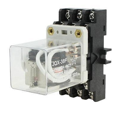 DIN Rail Mount 4PDT 11 Pin General Purpose Relay AC220V Coil w Socket JQX-38F replaceable plastic 8 pin din rail relay socket base holder