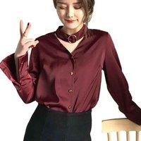 Spring New Halter V Neck Women S Shirt Satin Long Sleeve Blouse High Quality Office Women