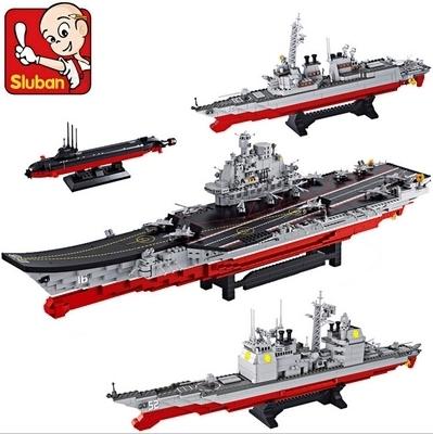 Sluban building blocks 1:350 portaaviones 4 helicópteros aviones Stealth 4 4 aviones de combate 4 patrulla Antisubmarina yates
