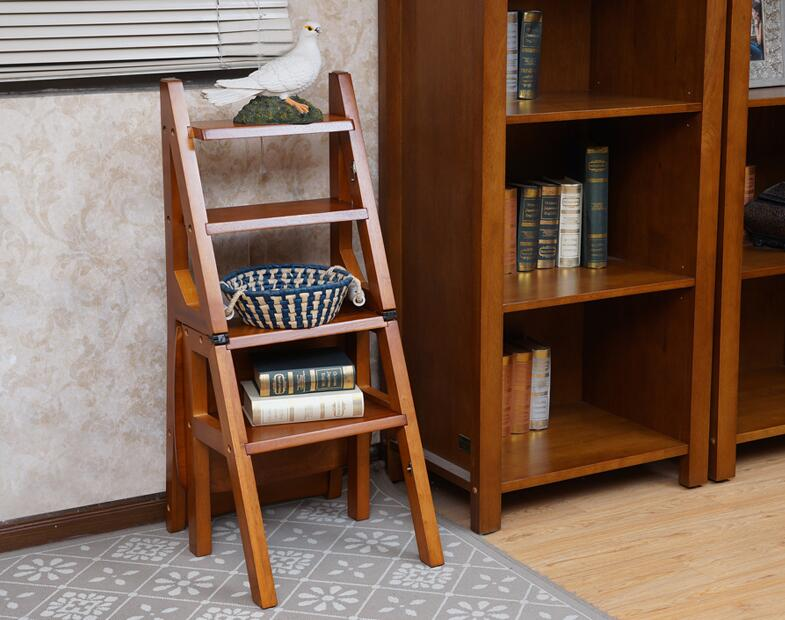 Wooden Folding Library Ladder Chair Kitchen Furniture Step Ladder School  Convertible Ladder Chair Step Stool Natural/Honey/Brown In Step Stools U0026  Step ...
