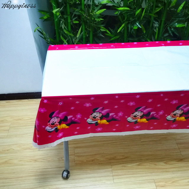 Hot Minnie Mouse Party Supplies Tablecloth Happy Birthday Decoration