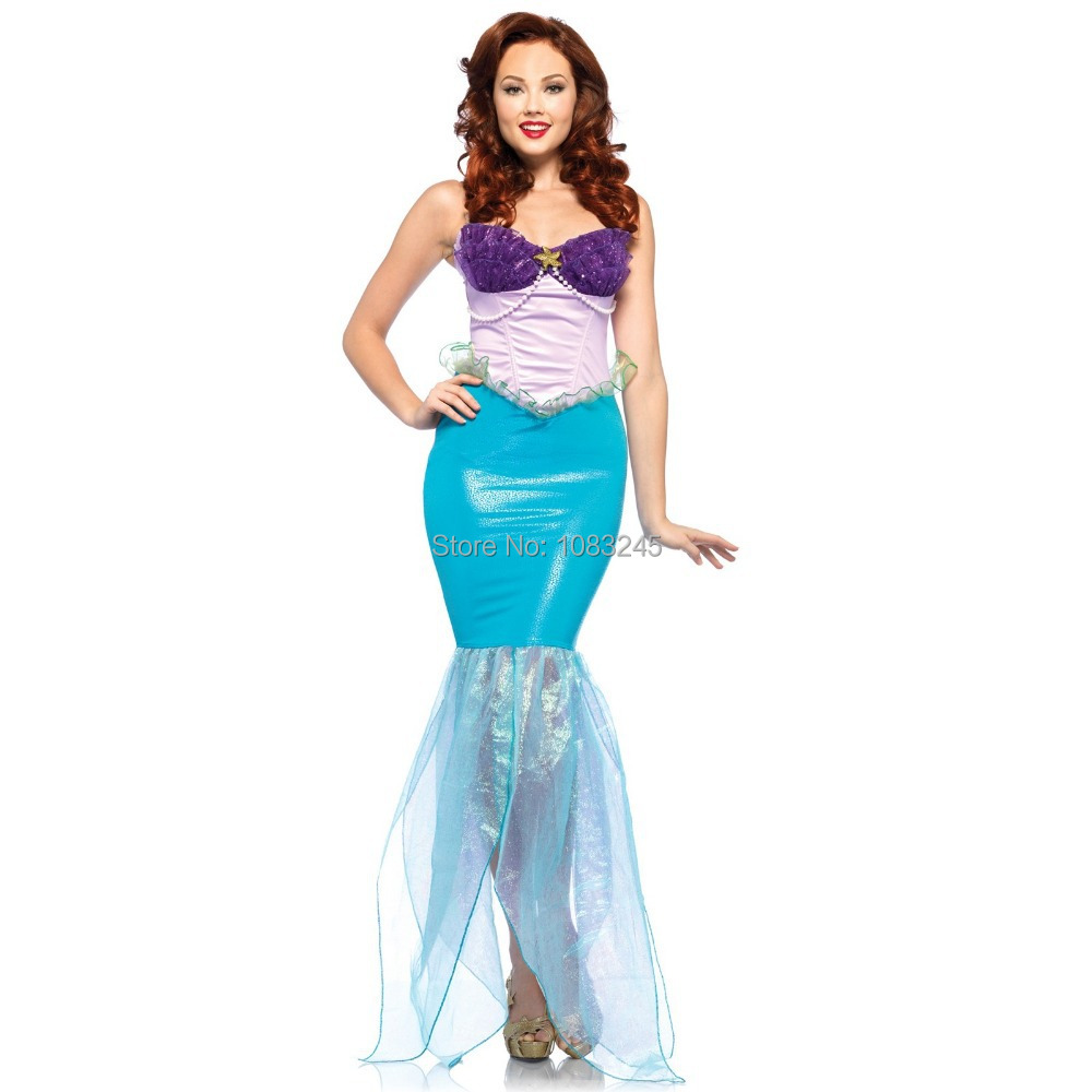Womens Little Mermaid Princess Undersea  Ariel Outfit Adult Halloween Party Costume