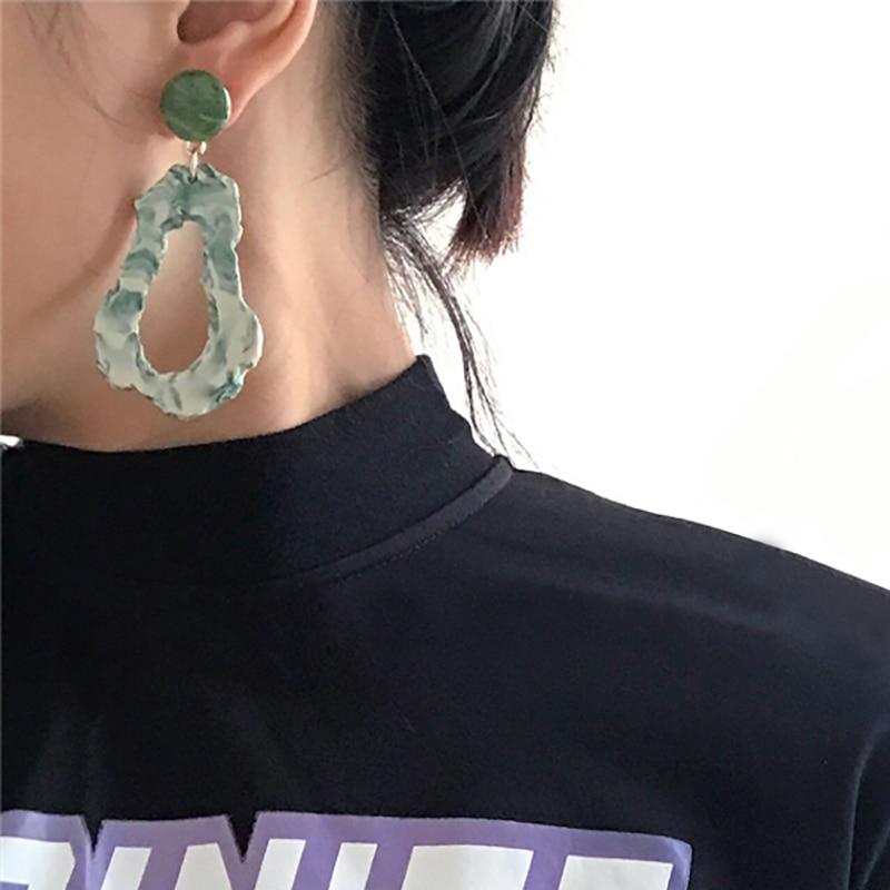 AENSOA Fashion Design Acrylic Irregular Long Drop Earrings 2019 Marble Pattern Stone Handmade Geometric Resin Earrings For Women