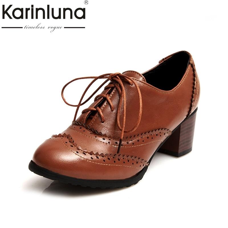 KARINLUNA Retro British Style Large Size 34-43 Platform Women Shoes Woman Brogue Lace Up Square High Heels Lady Pumps