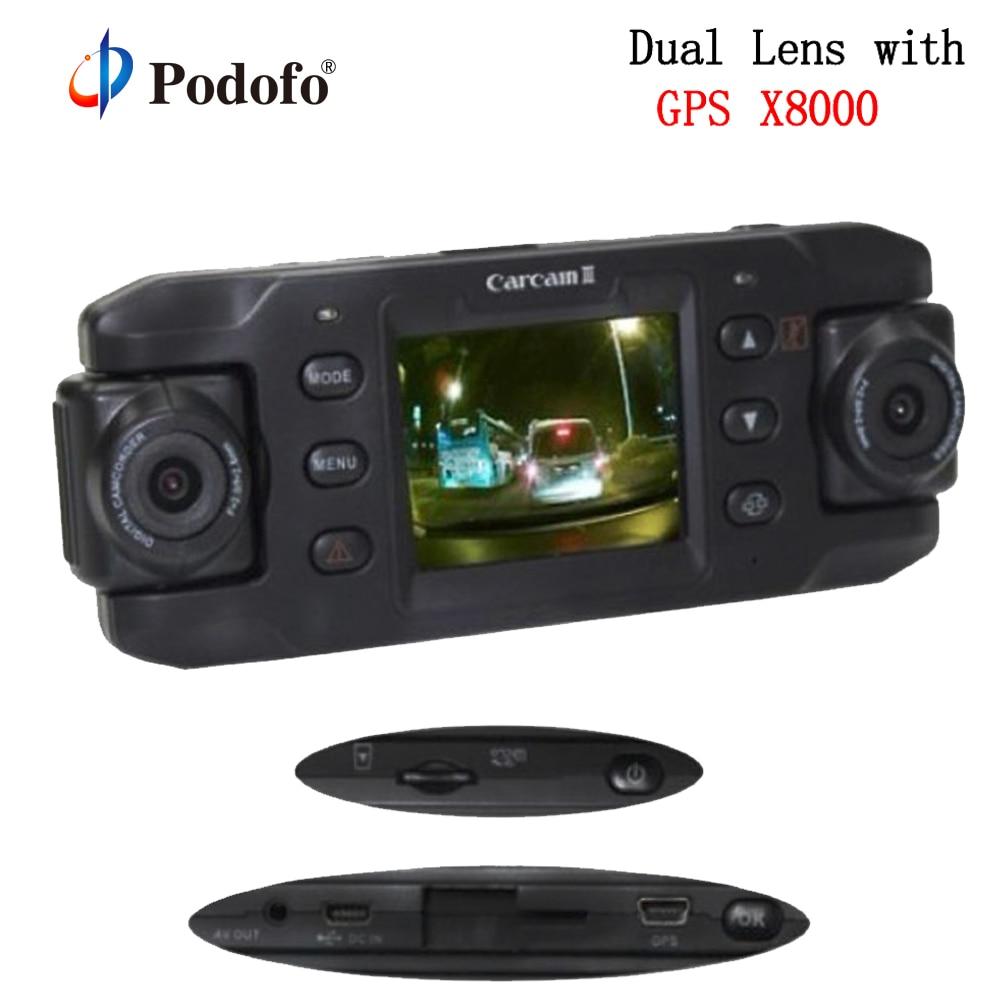 Podofo DVR Camcorder Registrator Car-Dvr Dash-Cam Dual-Lens Gps X8000 1080P Full-Hd