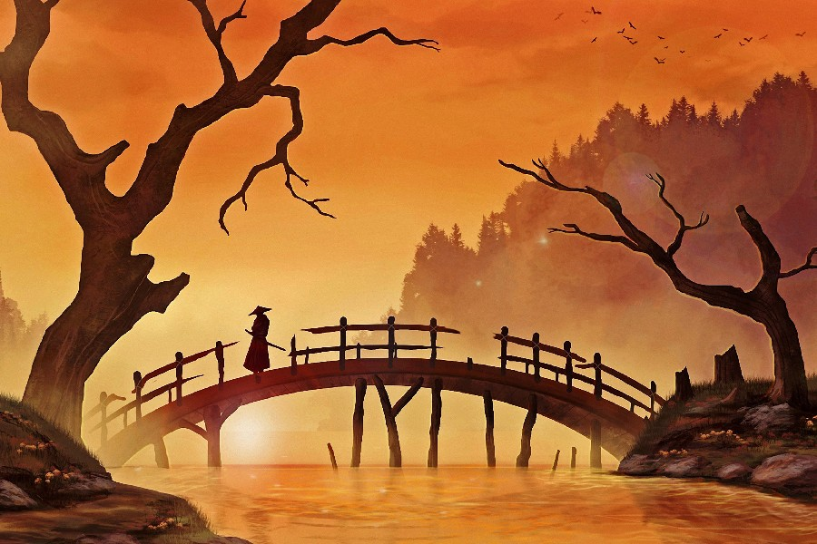 japanese landscape samurai wall scenery artwork decor poster fabric silk painting garden canvas printing
