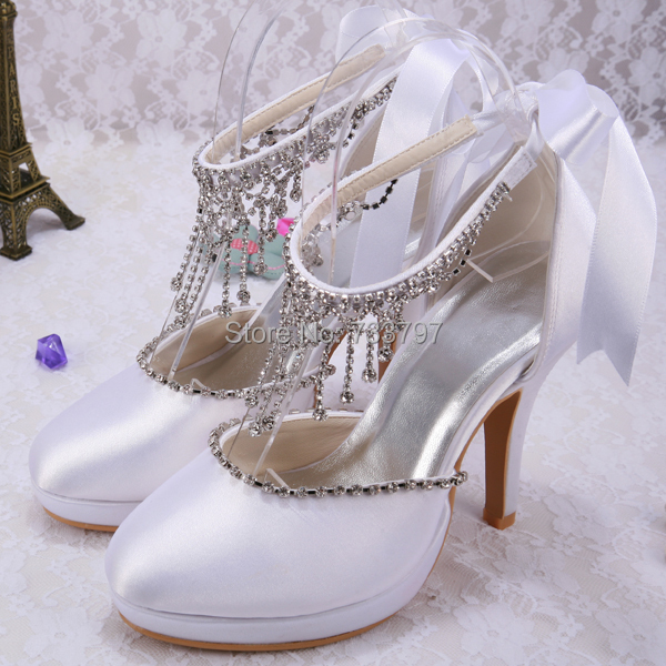 ФОТО Wedopus MW129 Diamante Woman Shoes Fashion Ribbon Heeled Proms Wedding Sandals