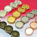 5pcs  with Four inner 12mm Antique Bronze Spring Hair Clips Jewelry  Bezel Setting Trays for Cameo Cabochons