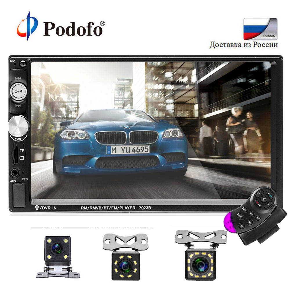 Podofo Авторадио 2 din кассета Регистраторы автомобильного радио 7 ''Сенсорный экран 2din автомобильного Радио Аудио Bluetooth MP5 FM мультимедийный плее...