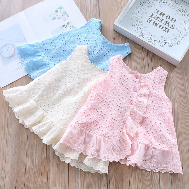 Spring Summer 2019 New Style Girl Wave Collar Hollow Embroidery Waistcoat Children s Fashion Cotton Doll