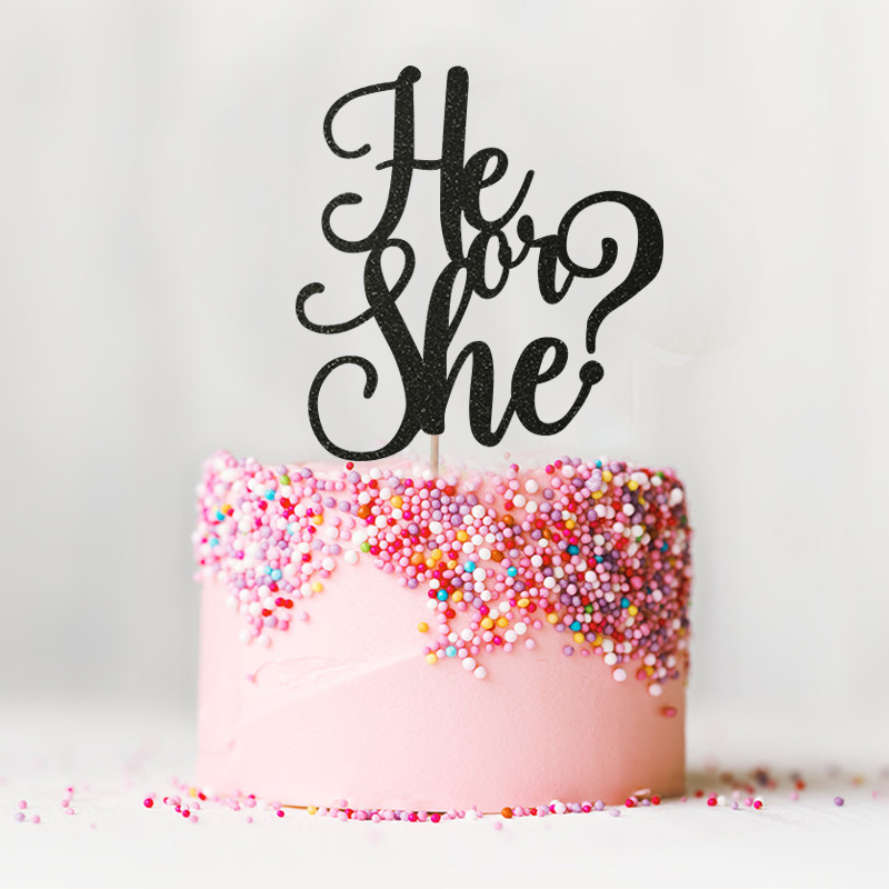 He Or She Glitter Cake Topper Girl Or Boy Birthday