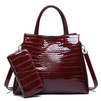 New Fashion Alligator Women's Patent Leather Handbags With Wallet Big Size Shoulder CrossBody Bags Women Casual Tote