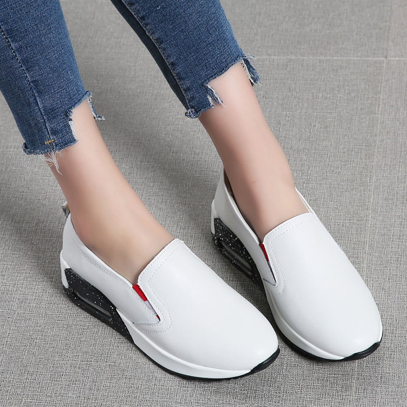 LAISUMK Spring Women Flats Shoes platform Sneakers Leather white casual flat shoes thick heel sole platform creepers Black shoes in Women 39 s Flats from Shoes