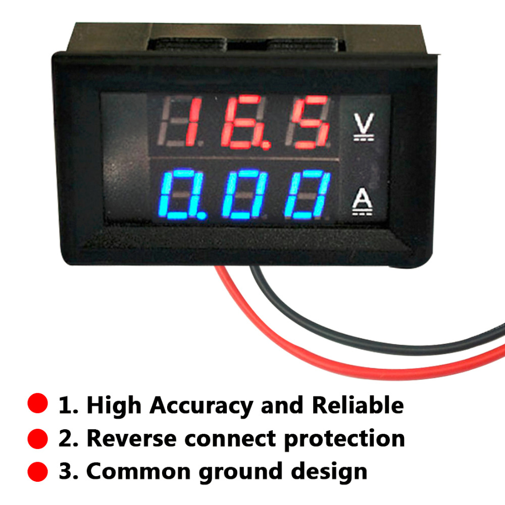 1pcs Professional DC 100V 10A Voltmeter Ammeter Blue + Red LED Amp Dual Digital Ammeter Voltmeter Gauge mini digital voltmeter ammeter dc 100v 30a voltmeter current meter tester vat1030 led display 274833