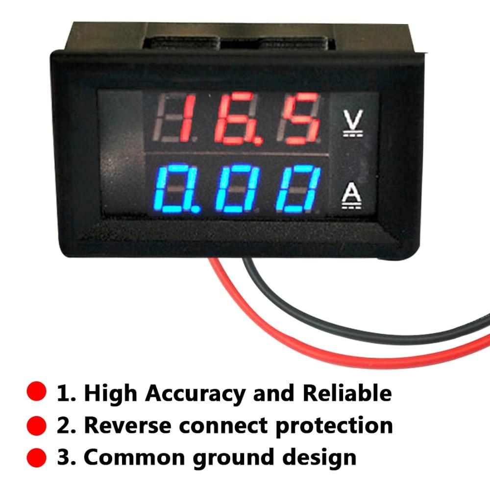 цена на Free Shipping LED Amp Dual Digital Volt Meter Gauge 0.28'' DC 100V 10A Digital Ammeter Tester LED Dual Display Amp