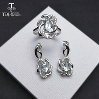TBJ, Natural Aquamarine gemstone ring and Earring Jewelry set in 925 sterling silver rose gold color special gift for women girl