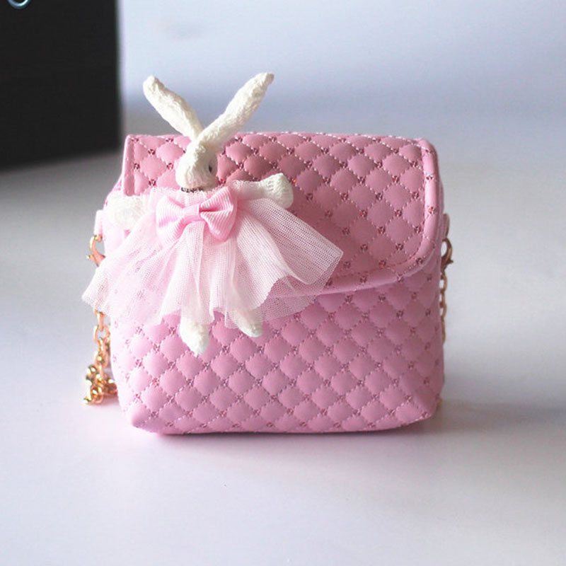 2018 New han edition cute girl child baby rabbit bag princess fashion bag PU bag children bag Children aslant package