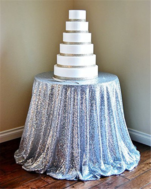 Silver Sequin Tablecloth 90 Round Sparkly Christmas Wedding For
