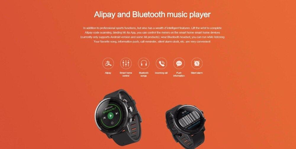 Nouvelle montre de sport intelligente Huami Amazfit Stratos 2 5ATM résistant à l'eau 1.34 '2.5d écran GPS première montre intelligente de natation - 6