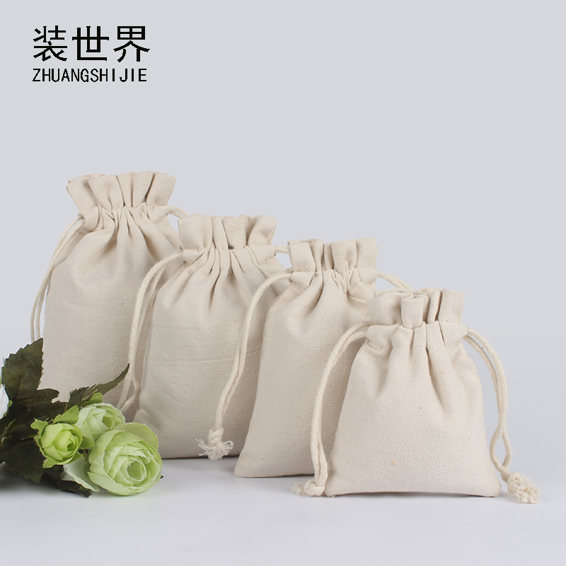 5pcs/lot 9*11.5cm Natural Resuable Cotton Canvas Pouch Custom Logo Print Eco Drawstring White Gift Bags Christmas Packaging Bags