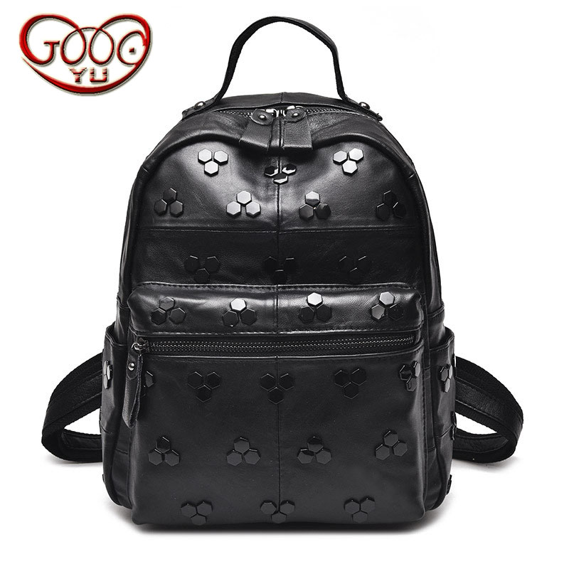 Ladies fashion black and white sheepskin backpack solid color rivets youth fashion Ladies fashion black and white sheepskin backpack solid color rivets youth fashion