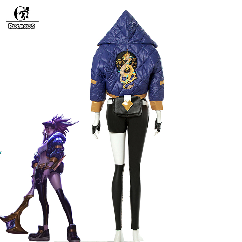 ROLECOS Game LOL Cosplay Costumes Group K/DA Akali Jacket with Tube Top Costumes Group KDA Akali for Women Cosplay Costumes
