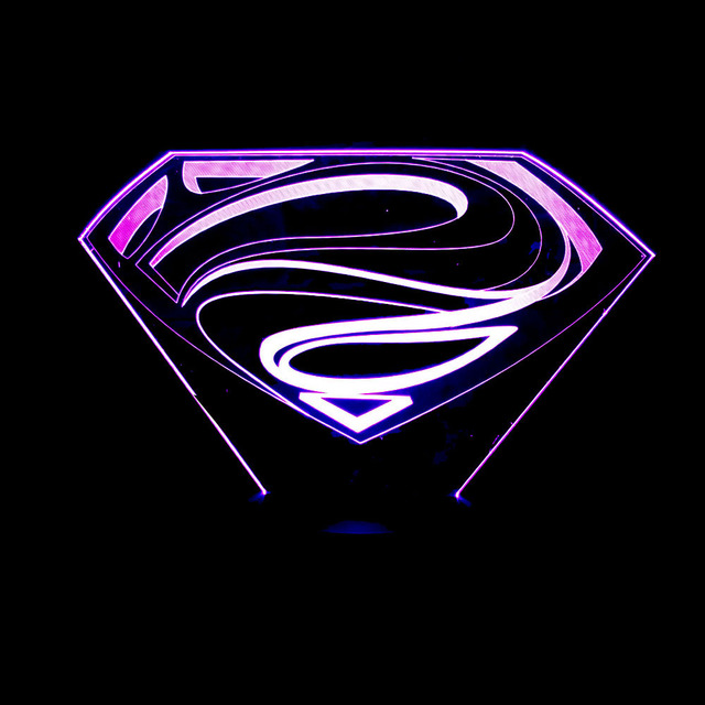 New Superman Colorful 3d Lights Led Acrylic Lamp Night Light Touch Remote  Visual Illusion Lamp Novelty