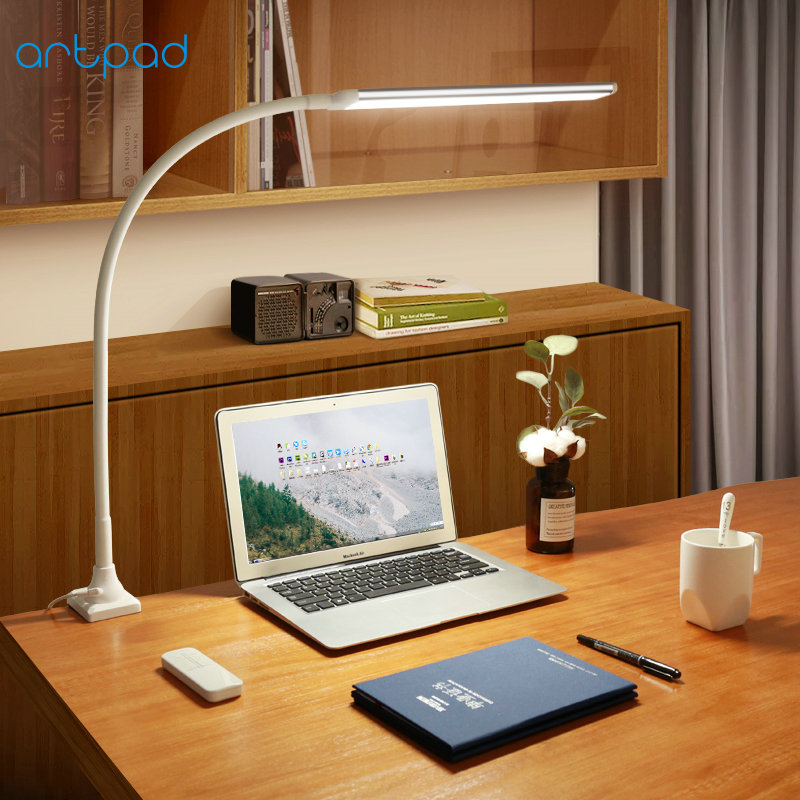 Artpad Swing Long Arm Clip on Lamp 25 Levels Brightness Remote Control Touch Dimmer LED Clamp